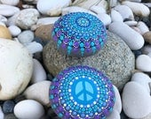 Purple and Blue Magical Mandala Rock with matching Peace Rock