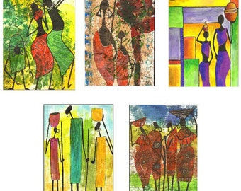 Greeting Cards - set D - beautiful high quality fine art cards - all from original art