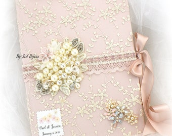 Lace Guest Book,Rose,Blush,Ivory,Blank Pages,Personalized,Vintage Wedding,Pearl Guest Book,Signing Pen,Signature Book,Elegant,Anniversary