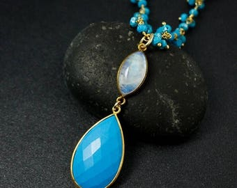 ON SALE Gold Blue Turquoise & Rainbow Moonstone Necklace - Turquoise Chain - Boho Jewelry