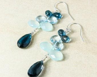 ON SALE London Blue Topaz Cluster Earrings, Aqua Chalcedony, Sky Blue Topaz, December Birthstone Earrings