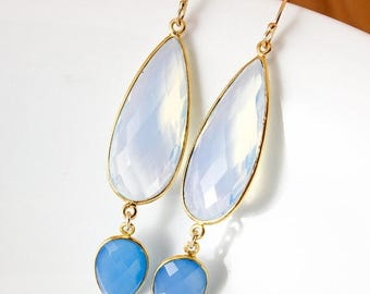 ON SALE Gold White Opalite & Blue Chalcedony Glamour Earrings - 14K Gf - Something Blue
