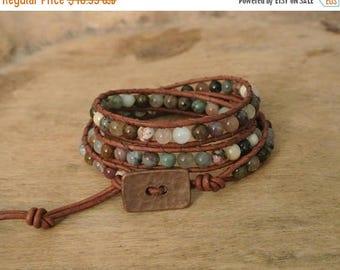 50% OFF SALE Sadie Jasper Beaded Leather Wrap Bracelet