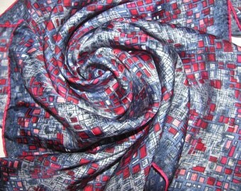 Vintage Square Silk Scarf - Abstract Square Pattern in Pink and Blue - Hand Rolled Hem