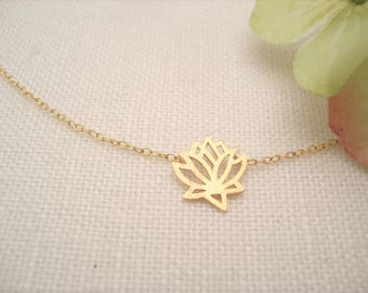 Gold Lotus with 14kt. gold filled chain...Nature, Yoga Inspirational jewelry, Symbolic pendant, Bridesmaid gift, Family gift, for her