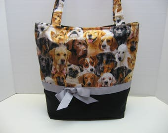 Cute Dog Covered Tote Bag with Five Pockets Inside!