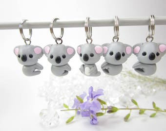 Koala Stitch Markers koala bear miniature animal polymer clay koala charm knitting accessories koala gifts for knitters women gift cute knit
