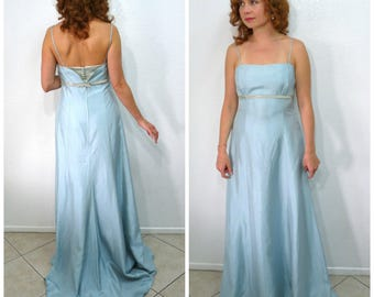 Vintage 1960s Dress Alfred Angelo Pale Blue Spaghetti strap Floor-length Empire Waist Bridal Wedding Dress