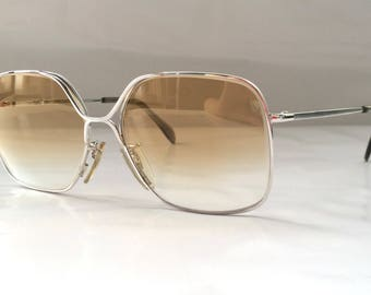 80s Vintage German Metzler Small Square Frame Metal Sunglasses