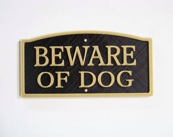 "Plastic 3""x 6"" Beware of Dog Sign Black with Gold Letters Vintage Styling"