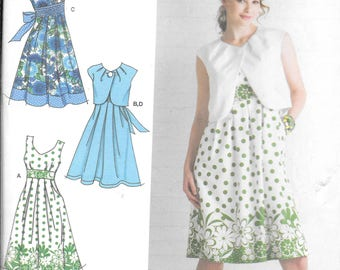 Simplicity 2886 Dress Pattern with Bodice Variations and Bolero New Uncut (6-14)