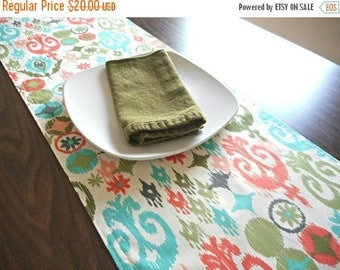 Christmas in July Sale Ikat Table Runner Quatrefoil Moroccan Turquoise Coral Peach Olive Green Gray Beige Summer Buffet Reversible
