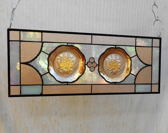 Depression Glass Stained Glass Panel with 1930s Iris and Herringbone Plates, Vintage Carnival Glass Transom, Antique Stained Glass Window