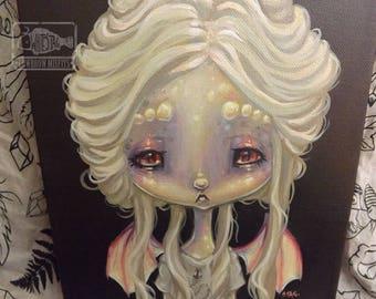Original opal FAIRY Dragon lowbrow art painting gothic pop surreal