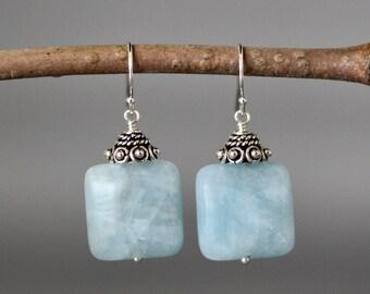 Aquamarine Earrings - Bali Silver Earrings - March Birthstone - Square Earrings - Blue Gemstones - Wire Wrap Earrings - Statement Jewelry