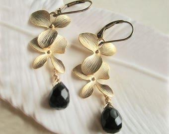 Wedding Earrings, Gold Bridal Earrings, Gold and Black Earrings, Crystal Wedding Earrings, Swarovski Crystal Earrings,Jewelry Made In Sweden