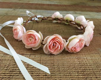 Pink Floral Bridal Head Wreath,Bridal Flower Crown,Maternity Head Wreath,Maternity Photos,Bridesmaids,Head Wreaths,Wedding Accessories