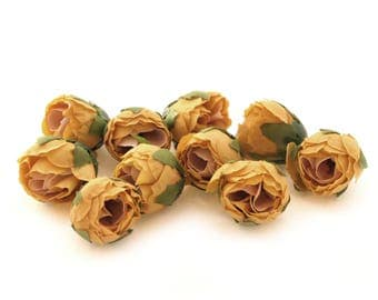 10 Mustard Yellow Tea Roses - Artificial Flowers, Silk Roses, Small Flowers