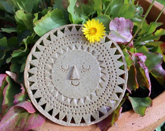 handmade ceramic sun wall hanging or garden art