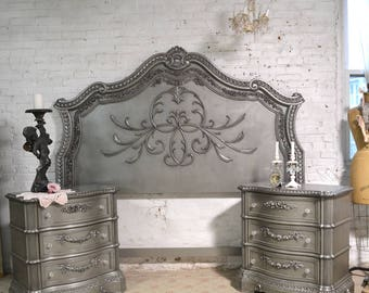 french bed painted cottage shabby chic queen king headboard only