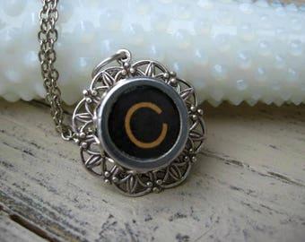 Typewriter Key Jewelry - Letter C Charm Necklace