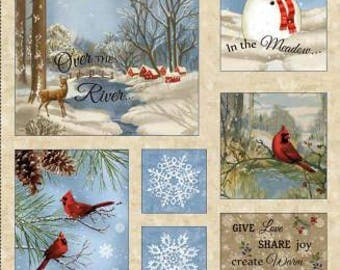"""Timeless Treasures - Wing And A Prayer - Winter Memories Flannel Panel - 24"""" Panel CF4527-BEIG"""