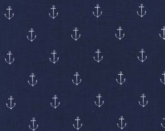 Michael Miller - Out to Sea Flannel - Anchors - Navy - Fabric by the Yard FD5627-NVY