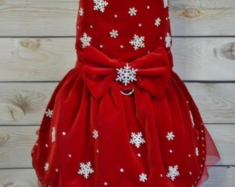 Dog Dress, Red Velvet Dog Dress, Snowflake Dog Harness Dress, Fancy Dog Dress, Dog Valentines Day Dress, Dog Pageant Dress, Small Dog Dress