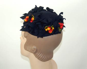 1950s hat wool felt small hat navy blue with apples fruit whimsical bows