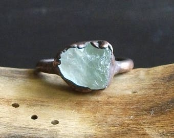 Aquamarine Raw Crystal Ring Midwest Alchemy Size 6 Natural Rough Stone Jewelry Copper March Birthstone