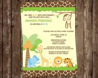 Jungle, Baby Shower, Invitations, Safari Animals, Boys, Zoo, Monkey, Giraffe, Lion, Tiger, Elephant, 10 Printed Invites, FREE Shipping
