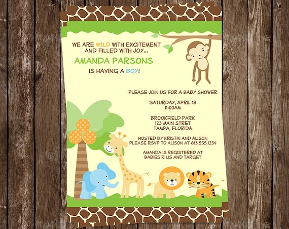 jungle baby shower invitations safari animals boys zoo, Baby shower invitation