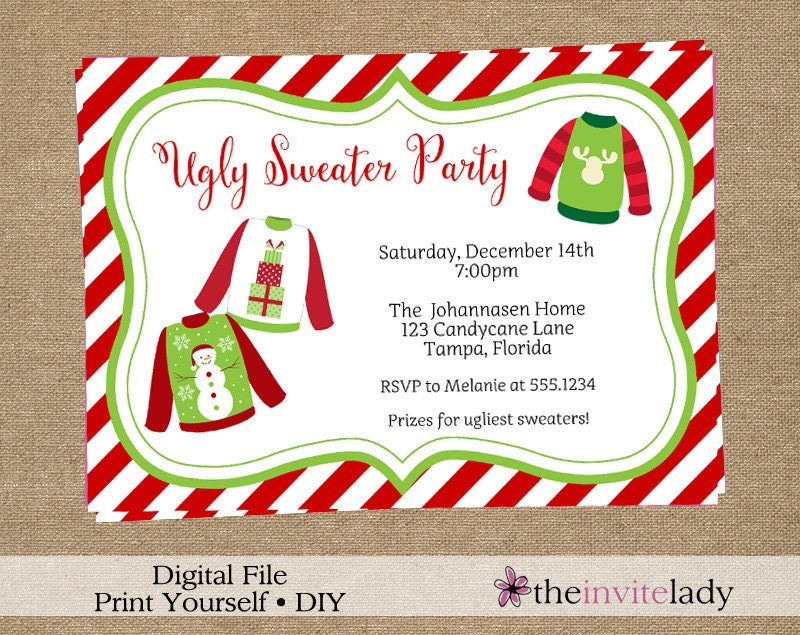 Invitations announcements paper paper party supplies ugly sweater party invitations tacky sweater invites with chevron stripes holiday christmas party solutioingenieria Image collections