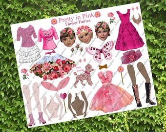 Handmade Digital Art Paper Doll Poodle Collage Sheet Flower Fairy Fairies Pretty In Pink JPEG PNG Printable Altered Art Journal Scrapbooking