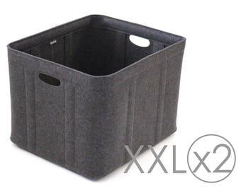 XXL Size, Set of 2 / Custom-made Felt Storage Basket / Storage Box for a Shelf