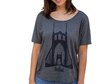 St. Johns Bridge| Relax fit tshirt| Portland Oregon| Soft lightweight Flowy tee| Art by MATLEY| Gift for her|  Oversized| travel tees.