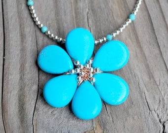 Turquoise Silver Copper Pendant Daisy Necklace Boho Minimalist Wife Daughter Girlfriend Birthday Anniversary Valentine's Day Ready to Ship