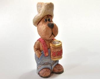 Wood Carving Caricature Bear Wood Sculpture Man Easter Gift Under 30 Grandpa Gift Husband Gift Animal Carving Men Gift