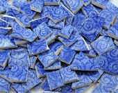 150 Broken China Mosaic Tiles - Blue- Swirls - Recycled Plates -