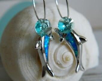 Fire Opal Dolphin Earrings by Seyshelles