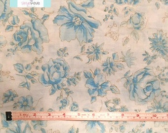 Vintage Twin Flat Sheet with Blue and White Florals