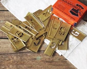 "Vintage Reese's Brass Stencil Lot - 1"" Adjustable Stencils Lot of 35 in Original Box"