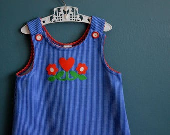 Vintage 1970s Girl's Blue and White Striped Jumper with Heart and Flowers Applique - Size 4T