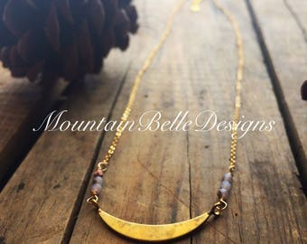Handmade Brass Crescent Moon Necklace - Gold Half Moon Necklace - Astronomical Necklace - Geometric Jewelry - Whimsical Necklace - Astronomy