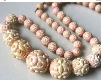 CIJ SALE Christmas JULY Art Deco Peaches n Cream Molded Carved Celluloid Ball  Bead Vintage Necklace
