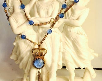 SALE SALE SALE Beautiful Art Deco Gold Crown Blue Crystal Open Back Vintage Necklace
