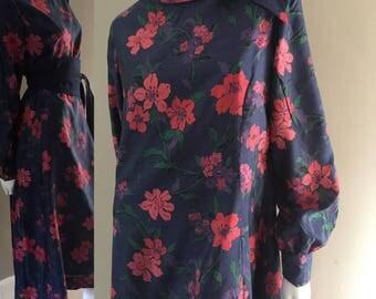Vintage 1980s Silk Floral Midi Shift Dress