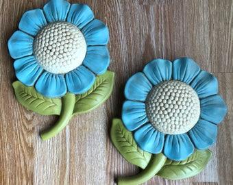 Pair of Ceramic Blue Sunflowers Flowers decor nursery