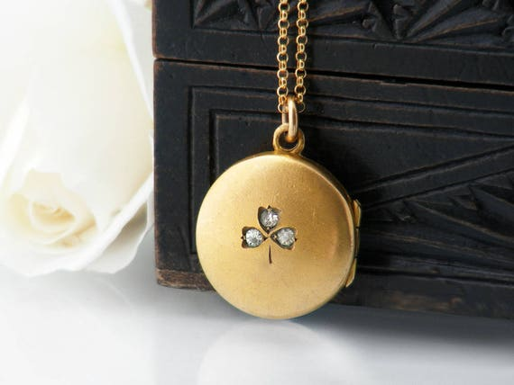 Antique Locket | Edwardian Era Locket with Crystal Shamrock | Bloomed Gold Photo Locket Necklace, Gold Filled Wedding Locket - 20 Inch Chain