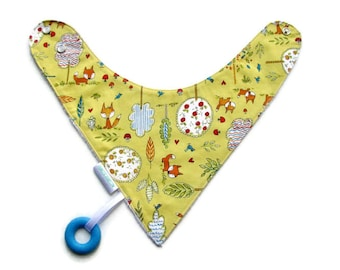 Baby Bandana Bib With an Attached Food Safe  Silicone Teether. Critters Reversible  Minky Lined